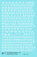 K4 O Decals White 1/4 Inch Extended Roman Letter Number Alphabet Set