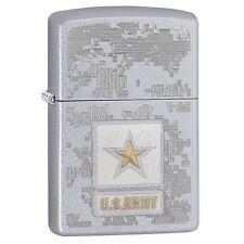 "Zippo ""US Army"" Satin Chrome Finish Lighter, Full Size, 29388"