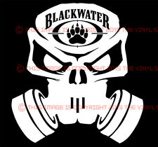 5.5 inch BLACKWATER Skull with gas mask shadow army decal sticker BADASS