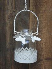 Laura Ashley Metal Glass Hanging Tea Light Candle Holder Butterflies Chain Cream