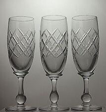 "TUDOR CRYSTAL CUT GLASS 8 OZ CHAMPAGNE FLUTES SET OF 3 - 7 1/3""(19cm)TALL"