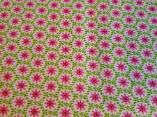 (11,32€/m²) Hilco Hilde 100 % Baumwollstoff Blumen grün-pink 0,50m x1,50m