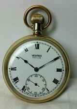 VERTEX GOLD PLATED POCKET WATCH SWISS MOVEMENT 15 JEWELS SIZE 12 GREAT CONDITION