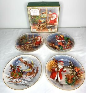 Pottery Barn Santa Journey Appetizer Salad Plates Set of 4 Assorted Christmas