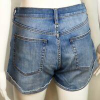 J. Crew Indigo Denim Cut Off Cuffed Jean Shorts Blue Medium Wash | Women's 28