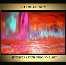 "ORIGINAL LARGE ABSTRACT CONTEMPORARY MODERN ART PAINTING Red 36x24"" JLEIGH"