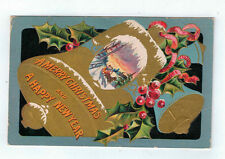 Vintage Postcard Christmas Bell Series No 1 Sleigh Ride Holly Embossed 1908