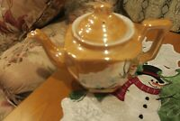 Vintage Peach Lusterware Teapot Cherry Blossom RS Made in Japan white inside