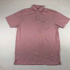 Fish Hippie Mens Pink Striped Short Sleeve Golf Polo XL