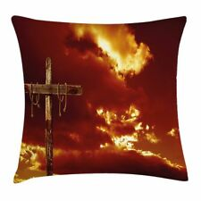 Religious Throw Pillow Case Empty Cross Messiah Square Cushion Cover 24 Inches