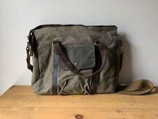 Samic Messenger Bag Vintage Leather Satchel Canvas 14 Inch Laptop Bag Cross