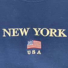 Mens Sz Large Navy Blue New York Pullover Vtg 90s American Flag Embroidered