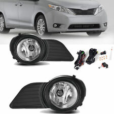 for 2011-2017 Toyota Sienna Clear Bumper Fog Lights Driving Lamps+Switch+Wiring