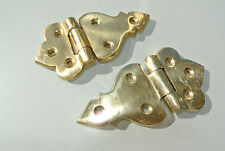 "2 small hinges vintage aged style solid Brass cast heavy polished 3.1/2"" screws"