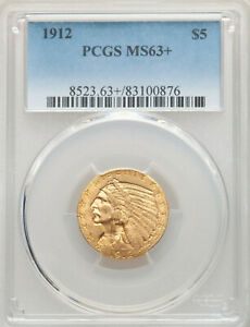 1912 Gold $5, MS-63+, Lovely PCGS Plus Grade Gold Half Eagle
