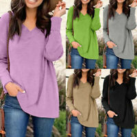 Pullover Shirt Long Tops Sleeve Jumper Baggy Casual Basic NEW Blouse Loose Women