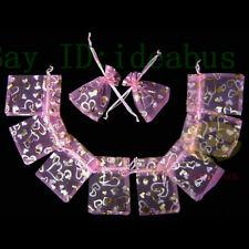 """4.75""""x3.5"""" Organza Pouches Jewelry Wedding Bags 100Pcs Pink w/ Gold Empty Heart"""