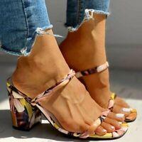 Womens Multicoloured Med Block Heel Slippers Slip On Summer Slides Sandals Shoes
