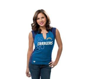 Reebok NFL Women's San Diego Chargers Two-Toned Split Neck T-Shirt Tank, Blue