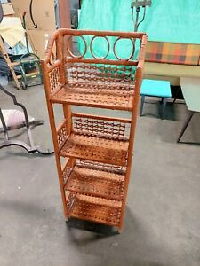 Vtg Rattan Shelf Wicker Furniture Wood Bookcase Plant Stand Storage Collapsible