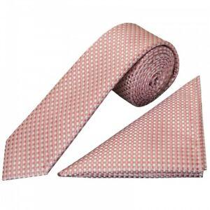 Rose Gold Diamond Neat Skinny Boys Tie and Pocket Square Set Wedding Tie