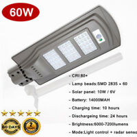 60W Outdoor LED motion sensor Solar Street Light IP65 Waterproof +50cm Light Arm