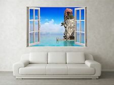 House At Sea Scene 3D Full Colour Window Home Wall Art Stickers Mural Decal