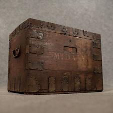 Antico piccolo Oak d'argento sul petto ironbound Storage Bagagliaio Inglese Vittoriano c1850