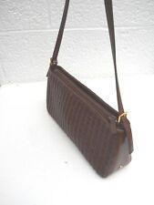 Etienne Aigner Woven Dark Burgundy Leather Shoulder Bag
