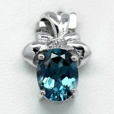 9x7mm Natural London Blue Topaz Pendant With White Topaz in 925 Sterling Silver