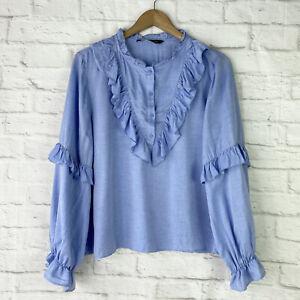 ZARA Anya Ruffle Long Sleeve Blouse Light Blue Size L