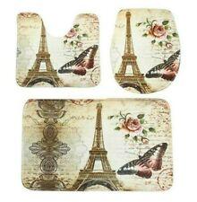 3pc Eiffel Tower Butterfly Soft Non-Slip Bath Shower Mat + U Rug + Toilet Cover