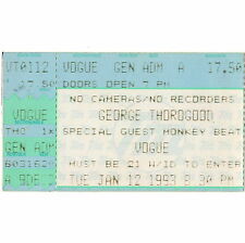 George Thorogood & Monkey Beat Concert Ticket Stub 1/12/93 Indianapolis Indiana