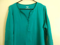 Daisy Fuentes Women's sz X-Large 3/4 Sleeve Blouse Blue Green Ladies XL Top