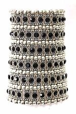 ED10 6 Row Wide Silver Black Austrian Crystal Beaded Stretch Statement Bracelet