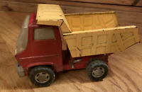 Vintage 1960's Marx Toys Pressed Steel Dump Truck Red & Yellow Working 7.5 inch