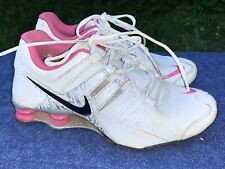NIKE SHOX CURRENT leather White Pink Silver Black Logo Shoes Size 7.5 ❤️sj18m6