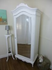 French Charroux Single Wardrobe In White - Shabby Chic Style French Armoire