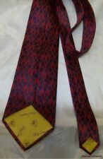 Rare Vintage 60s OLEG CASSINI Scarlet & Navy Ornate Keyhole Wide Silk Neck Tie