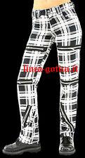 pantaloni scozzesi bianchi/neri zip dark gothic goth emo punk