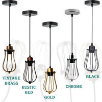 INDUSTRIAL LAMP SHADE METAL WIRE CAGE STYLE RETRO CEILING PENDANT LIGHT EASY FIT