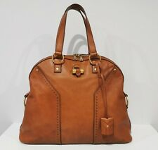YVES SAINT LAURENT ___YSL ___Leather Bag Handbag MADE IN ITALY Camel Brown
