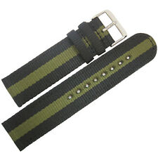 22mm Hadley-Roma MS4400 Olive Green Black Stripe 2-Pc Nylon MoD Watch Band Strap