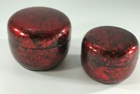 Vintage Holiday Red & Black Round Nesting Trinket Boxes - Set of 2 Lacquer style