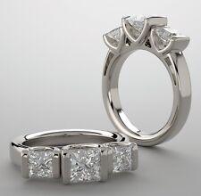 3 Stone Princess cut Diamond Engagement Wedding Ring 14k Gold 1.76 tcw