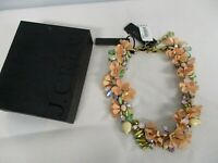 SIGNED J CREW RUNWAY STATEMENT PEACH ENAMEL FLORAL COLORFUL BRULEE NECKLACE NWT