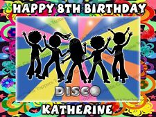 Personalised Kids Disco Edible Icing 70s 80s 90s Birthday Party Cake Topper