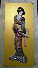 Oriental Chinese Japanese 3D Geisha Lady Wall Scroll Hanging Gold Background