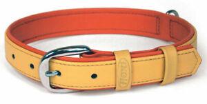 "Flexi Summertime Collar  Dogs PEACH ON PINK SOFT LEATHER MEDIUM 12-15"" NECK"