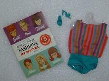 Barbie Vintage Repro American Girl Aqua Stripe Swimsuit ~Unboxed~ Free U.S Ship